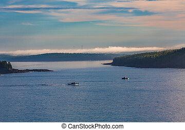 Fishing Boats in Misty Dawn