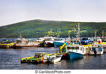 Fishing boats in Newfoundland - Harbor with various fishing...