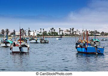 fishing boats in ocean bay