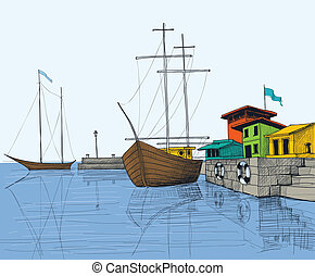 Fishing boats in port illustration
