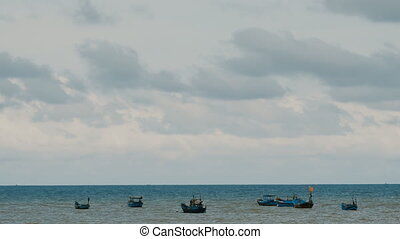 Fishing boats in sea. Vietnam.