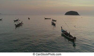 Fishing boats in the bay, schooner, sea, thai, thailand,...