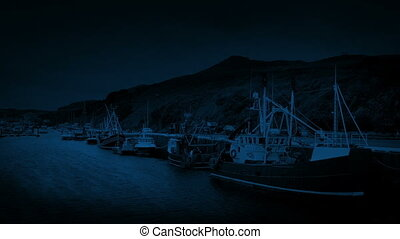 Fishing Boats In The Harbor At Night - Fishing boats moored...