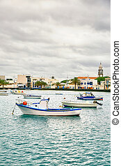 "Fishing boats in the laguna ""Charco de San Gines"" at Arrecife"