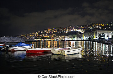 fishing boats in the port of Naples