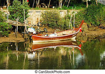 Fishing boats in the river