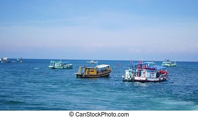 fishing boats in the sea. Morning