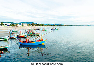 Fishing boats in the sea, Thailand