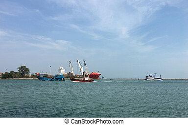 Fishing boats in the sea, very beautiful.