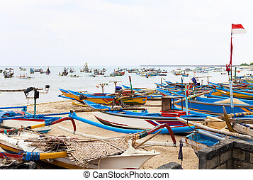 Fishing Boats, Jimbaran Beach, Bali, Indonesia - Traditional...