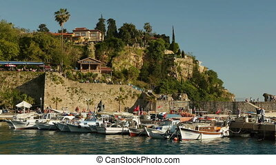 Fishing boats moored in the old harbor of Antalya, Turkey