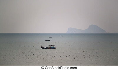 Fishing boats near fishing village