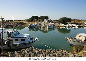 Fishing boats on lake