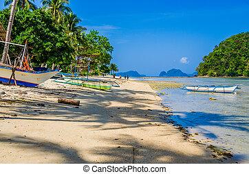 Fishing boats on shore under palms. Tropical island landscape. El- Nido, Palawan, Philippines