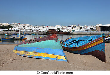 Fishing boats on the beach in Rabat, Morocco