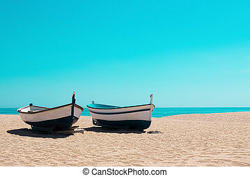 Fishing boats on the beach, Mediterranean
