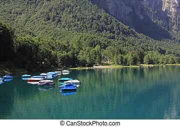 Fishing boats on the shore of Lake Kloental.