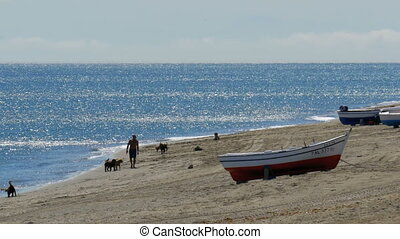Fishing Boats on the Shore of the Beach at the Rock of Gibraltar, Spain.