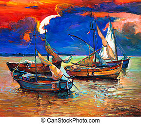 Fishing boats - Original abstract oil painting of fishing...