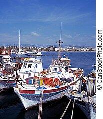 Fishing boats, Paphos, Cyprus. - Traditional fishing boats ...