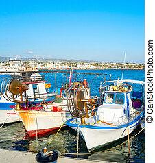 Fishing boats Paphos sea Cyprus