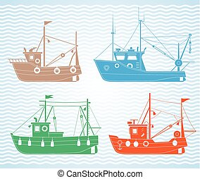 Fishing boats - Set of different types of fishing boats