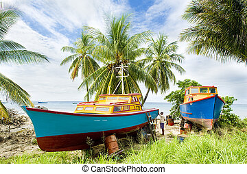 fishing boats, Six Men's Bay, Barbados - fishing boats; Six ...