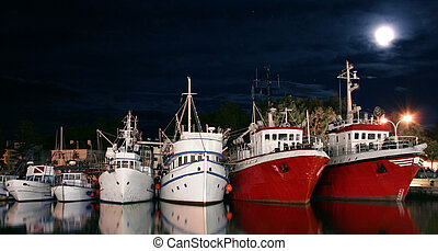 Fishing boats in harbor at the moonlight with free space for...