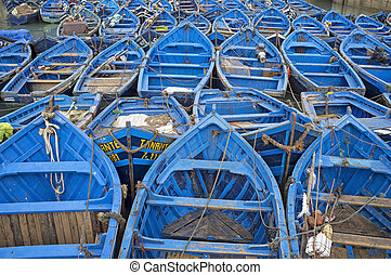 Fishing Boats - Small wooden fishing boats inside the...