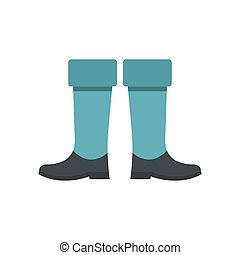 Fishing boots icon, flat style
