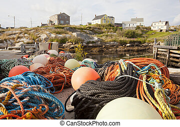fishing bouys and nets by fishing villiage