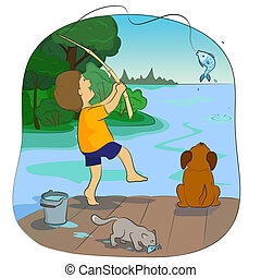 fishing - boy with a dog fish on the lake