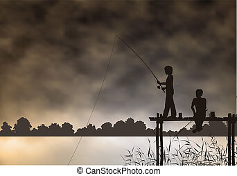 Editable vector scene of two boys fishing from a wooden jetty with background made using a gradient mesh