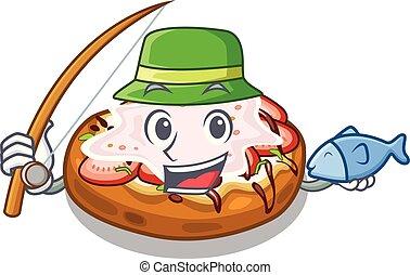 Fishing bread bruschetta above cartoon wooden table