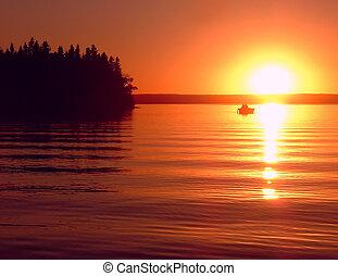 Fishing Buddies - An idyllic fishing scene, at sunset on a ...