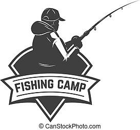 Fishing camp. Emblem template with fisherman. Design element for logo, label, sign, poster. Vector illustration