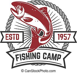 Fishing camp. Emblem template with salmon fish. Design element for logo, label,  sign.