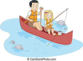 Fishing Camp - Illustration of a Kid Fishing with Her...