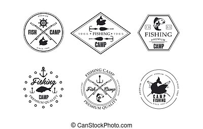 Fishing camp logo, wildlife, travel, adventure retro labels vector Illustration on a white background