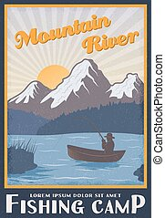 Fishing Camp Near Mountain River Poster