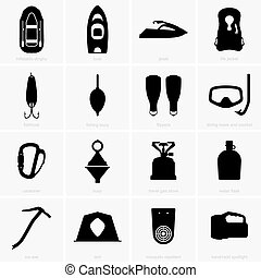 Fishing & camping icons