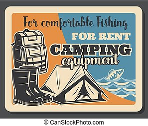 Fishing camping vector vintage poster