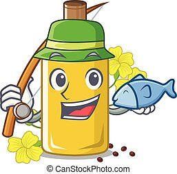 Fishing canola oil above the chair character vector ...