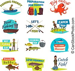 Fishing cartoon icon set with fisherman and fish
