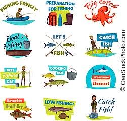 Fishing cartoon icon set with fisherman and fish