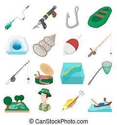 Fishing cartoon icons set