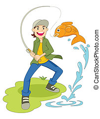 Cartoon illustration of a man fishing