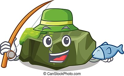Fishing cartoon large stone covered with green moss vector...