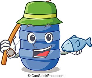 Fishing cartoon plastic barrel for trash dry