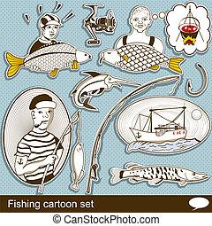 fishing cartoon set - Collection of different fishing...